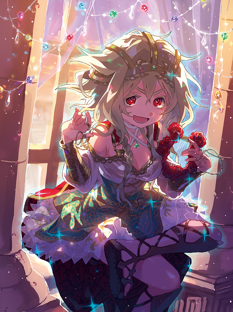 1girl armband bangs blonde_hair braided_ponytail cape curtains dress hair_between_eyes harp headdress holding holding_instrument instrument jewelry looking_at_viewer necklace off-shoulder_dress off_shoulder open_mouth original rabbit_monster red_cape red_eyes ring sandals sitting solo
