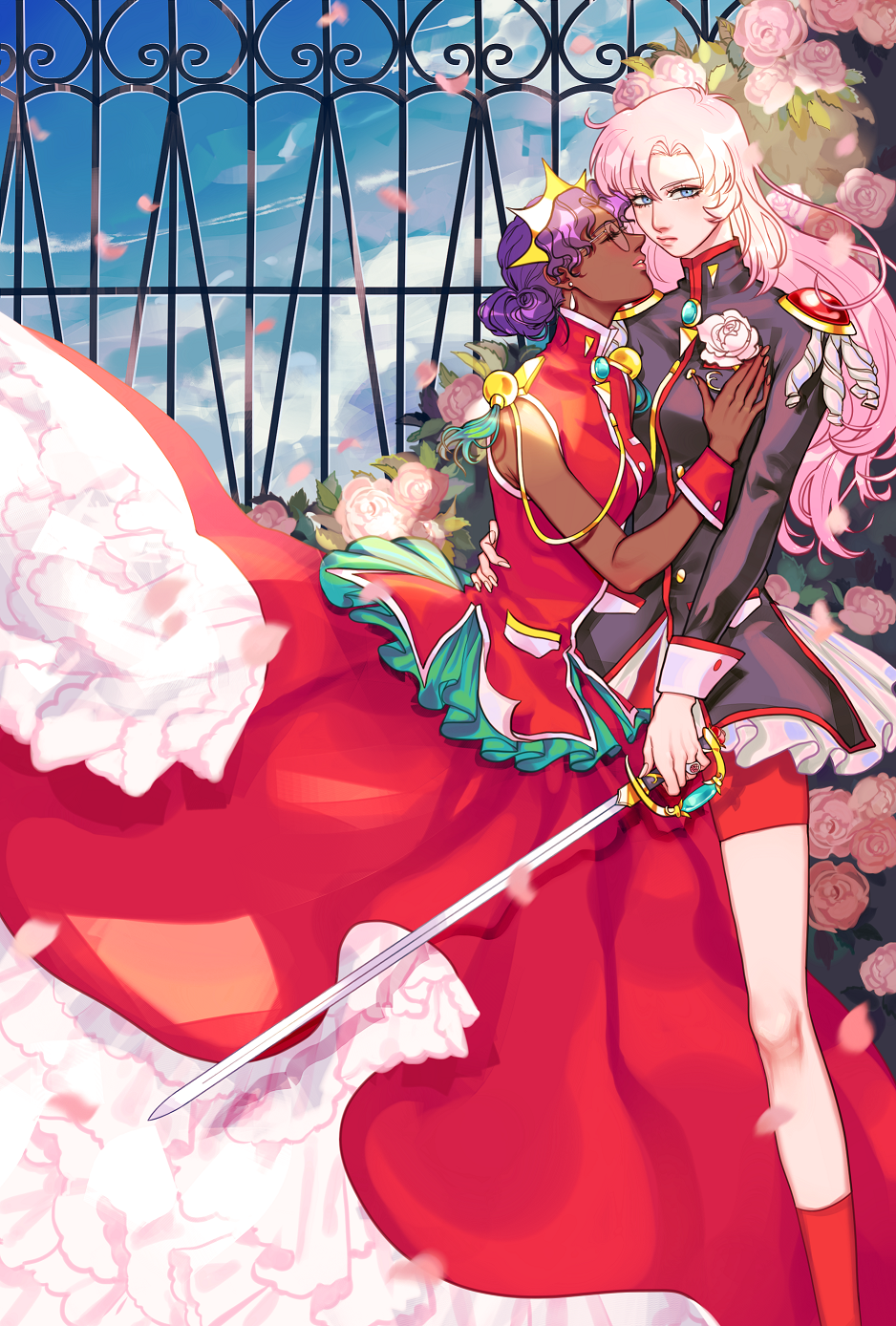 2girls aiguillette arm_around_waist bangs bike_shorts blue_eyes classic-tea closed_eyes commentary couple crown curly_hair dark_skin dress earrings epaulettes feet_out_of_frame fence flower frills glasses hand_on_another's_chest highres himemiya_anthy holding holding_sword holding_weapon jewelry long_dress long_hair long_sleeves looking_at_viewer multiple_girls outdoors petals petticoat pink_flower pink_hair pink_lips pink_rose purple_hair red_dress red_legwear red_shorts ring rose rose_bush rose_petals short_hair shorts shoujo_kakumei_utena sky sleeveless sleeveless_dress socks standing sword tassel tenjou_utena weapon wrist_cuffs yuri
