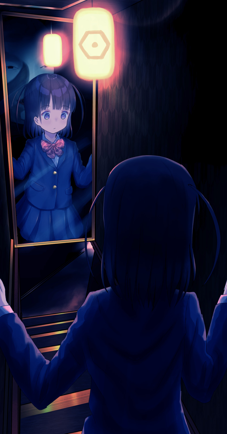 1girl bangs black_hair blazer blue_jacket blue_skirt bow closed_mouth collared_shirt commentary_request diagonal-striped_bow diagonal_stripes dress_shirt eyebrows_visible_through_hair hands_up highres jacket lantern long_sleeves mimikaki_(men_bow) mirror original pleated_skirt red_bow reflection school_uniform shirt skirt solo striped striped_bow two_side_up violet_eyes white_shirt