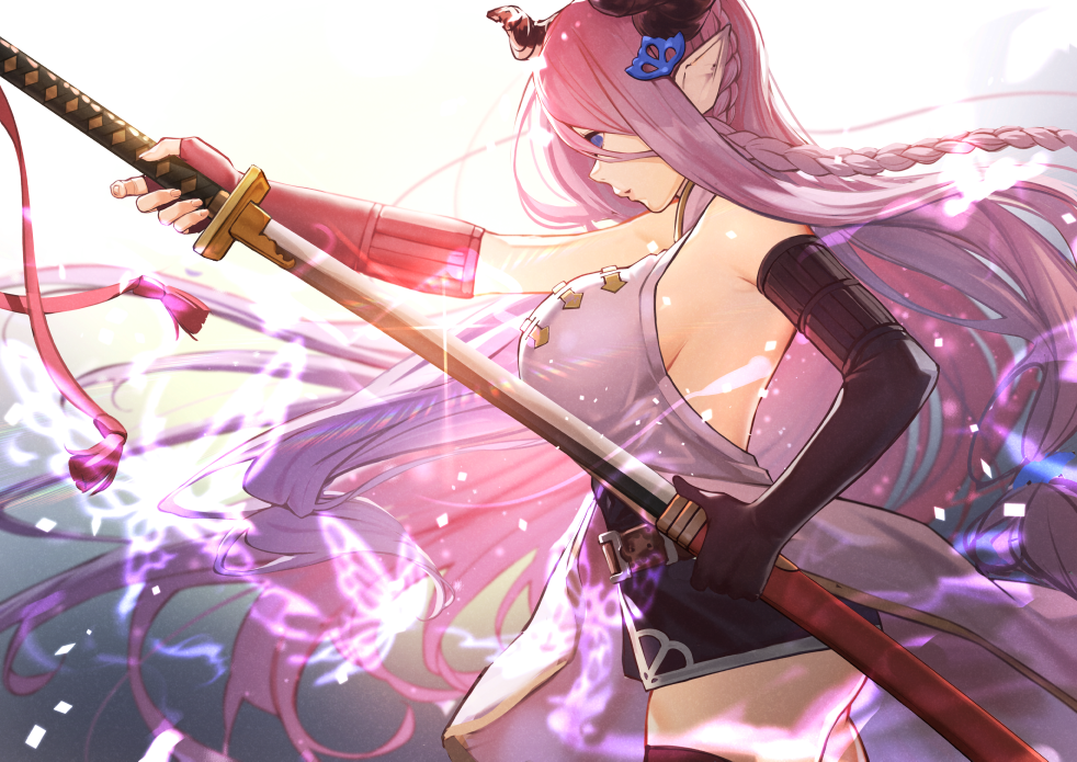 1girl asymmetrical_gloves bare_shoulders black_gloves blue_eyes boots braid breasts commentary_request demon_horns draph elbow_gloves fingerless_gloves from_side gloves granblue_fantasy hair_ornament holding holding_sword holding_weapon horns large_breasts lavender_hair long_hair narmaya_(granblue_fantasy) pointy_ears sheath shirt sideboob single_braid sleeveless sleeveless_shirt sword thigh-highs thigh_boots very_long_hair weapon ya99ru