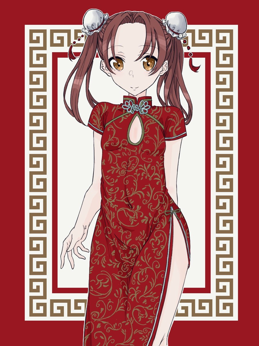 1girl alternate_costume arm_behind_back bangs breasts brown_eyes brown_hair bun_cover cleavage_cutout closed_mouth commentary_request covered_navel double_bun dress girls_und_panzer highres kadotani_anzu long_hair looking_at_viewer medium_dress parted_bangs partial_commentary print_dress red_dress red_theme short_sleeves side_slit small_breasts smile solo standing tarou.new twintails