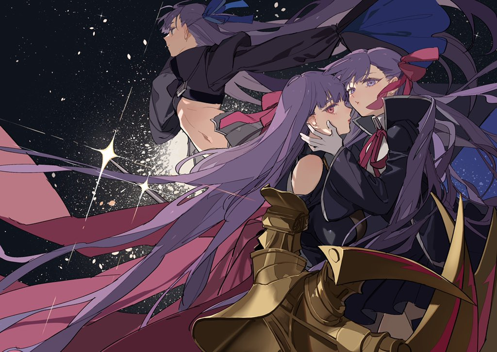3girls armored_boots bb_(fate)_(all) bb_(fate/extra_ccc) black_coat blue_ribbon boots breasts claw_(weapon) claws coat crotch_plate fate/extra fate/extra_ccc fate/grand_order fate_(series) gloves hair_ribbon high-waist_skirt huge_breasts long_hair meltryllis multiple_girls neck_ribbon passion_lip pink_ribbon purple_hair red_ribbon revealing_clothes ribbon skirt sleeves_past_fingers sleeves_past_wrists very_long_hair violet_eyes weapon white_gloves zhibuji_loom