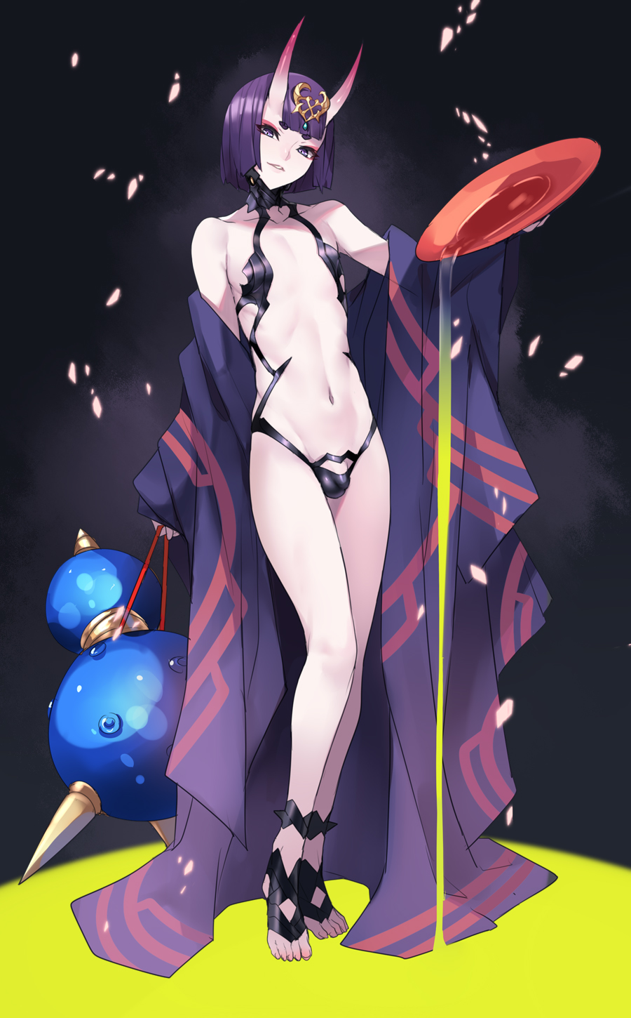 1boy ban bangs bare_shoulders barefoot barefoot_sandals bob_cut bulge collarbone cup dated eyeliner fate_(series) full_body genderswap genderswap_(ftm) headpiece highres horns japanese_clothes kimono legs long_sleeves looking_at_viewer makeup male_focus off_shoulder oni oni_horns open_clothes open_kimono otoko_no_ko parted_lips pouring purple_hair purple_kimono revealing_clothes sakazuki short_eyebrows short_hair shuten_douji_(fate/grand_order) skin-covered_horns smile solo toes violet_eyes wide_sleeves