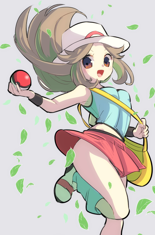 1girl ass bag blue_(pokemon) breasts brown_hair chorimokki hat long_hair looking_at_viewer messenger_bag open_mouth poke_ball poke_ball_(generic) pokemon pokemon_(game) pokemon_frlg porkpie_hat red_skirt shirt shoulder_bag simple_background skirt sleeveless sleeveless_shirt smile solo
