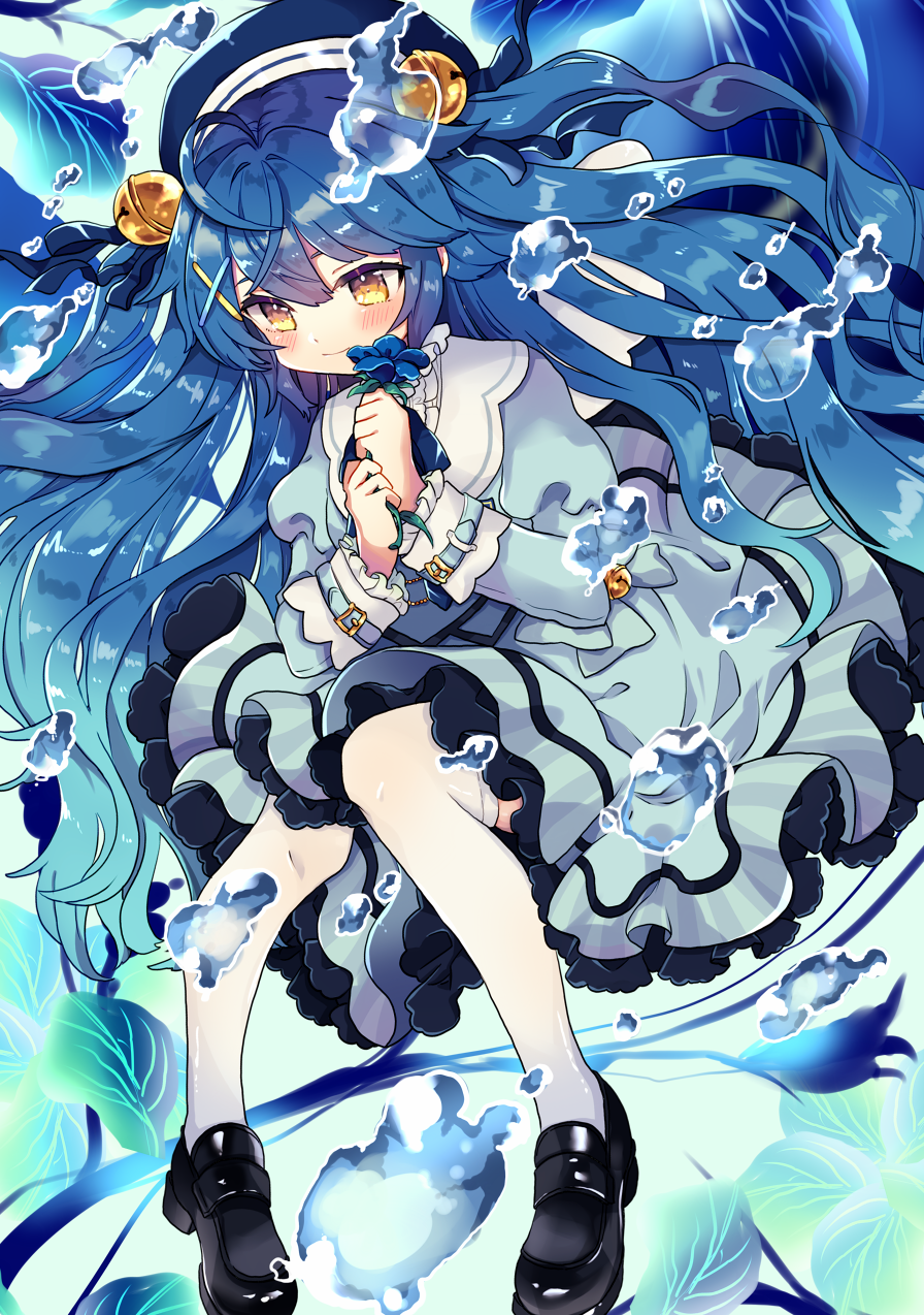 1girl amamiya_kokoro bell black_footwear blue_dress blue_hair blush bubble closed_mouth commentary dress floating_hair flower frilled_dress frills full_body hair_bell hair_ornament highres holding holding_flower jingle_bell loafers long_hair long_sleeves looking_down navy_blue_headwear nijisanji riku_(ururi7610) shoes solo thighs twintails two_side_up underwater very_long_hair virtual_youtuber white_legwear yellow_eyes