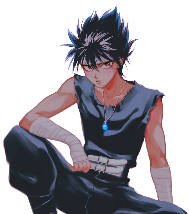 1boy arm_on_knee bandaged_arm bandages bangs belt black_hair black_pants black_shirt classic-tea closed_mouth collarbone expressionless feet_out_of_frame glowing headband hiei_(yuu_yuu_hakusho) jewelry knee_up looking_at_viewer male_focus necklace pants pendant red_eyes shirt simple_background sitting sleeveless sleeveless_shirt solo spiky_hair watermark white_background white_belt yuu_yuu_hakusho