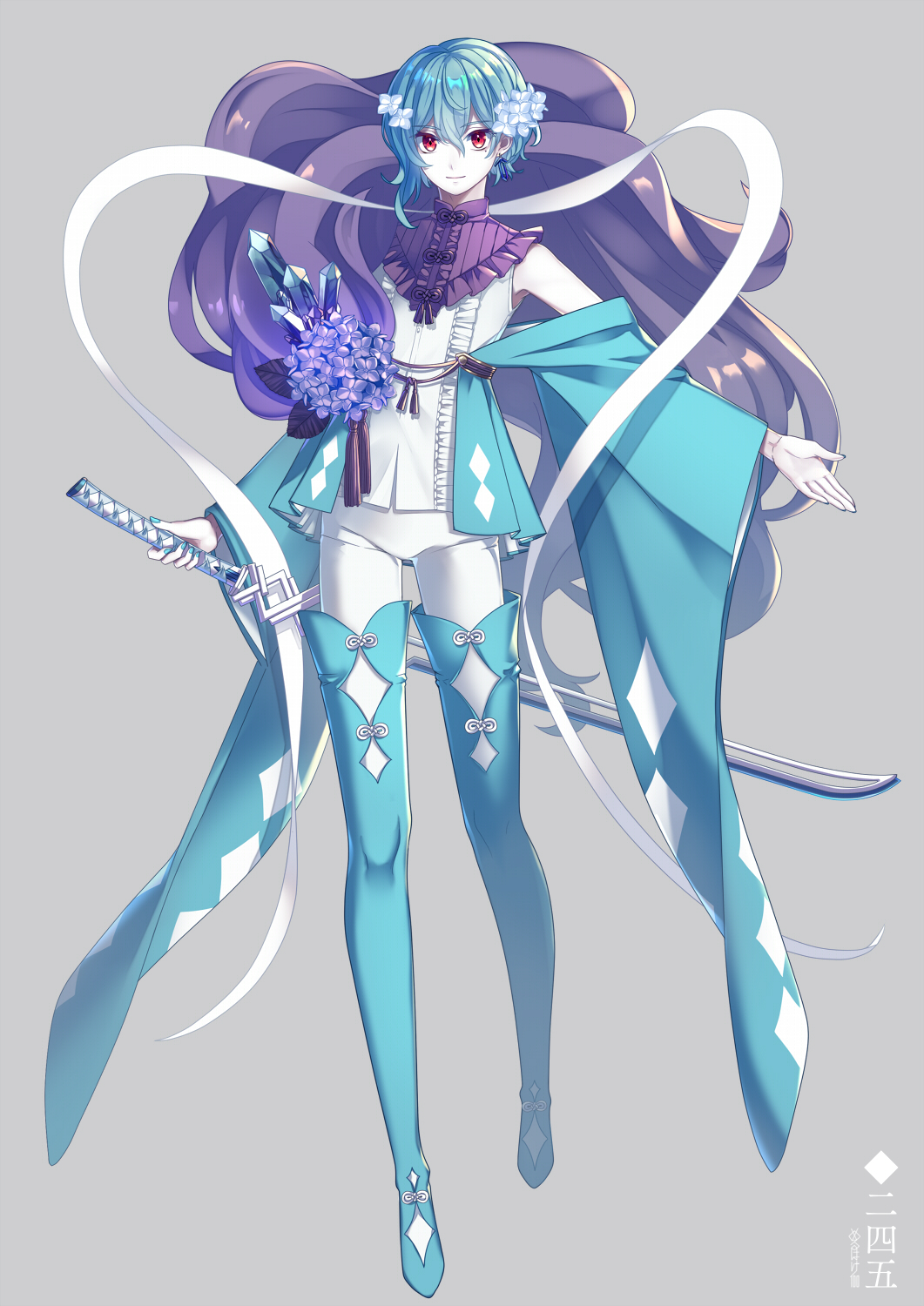 1other androgynous blue_footwear blue_hair boots breasts closed_mouth eyebrows_visible_through_hair flower full_body hair_flower hair_ornament highres holding holding_sword holding_weapon looking_at_viewer merlusa personification pokemon red_eyes sheath sheathed short_hair smile sword thigh-highs thigh_boots wavy_hair weapon white_skin