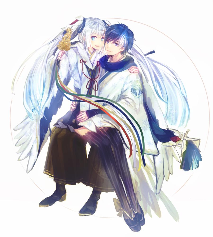 1boy 1girl animal_print arm_around_shoulder arms_around_waist bell bird_print blue_eyes blue_hair blue_robe blue_scarf commentary feather_print forehead-to-forehead hair_ornament hatsune_miku holding holding_instrument instrument japanese_clothes jingle_bell kagura_suzu kaito kimono looking_at_viewer open_mouth scarf shizuki_(megane2339) sitting sitting_on_lap sitting_on_person smile twintails vocaloid white_hair white_kimono yuki_miku yuki_miku_(2018)