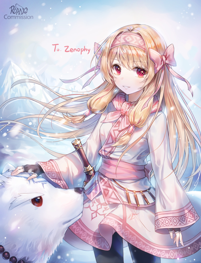 1girl animal artist_name bangs bear black_gloves black_legwear blonde_hair bow breasts commentary commission dress eyebrows_visible_through_hair fate/grand_order fate_(series) fingerless_gloves gloves hair_bow hair_ornament hairband long_sleeves looking_at_viewer mountain outdoors red_hairband roang small_breasts snow solo tagme weapon