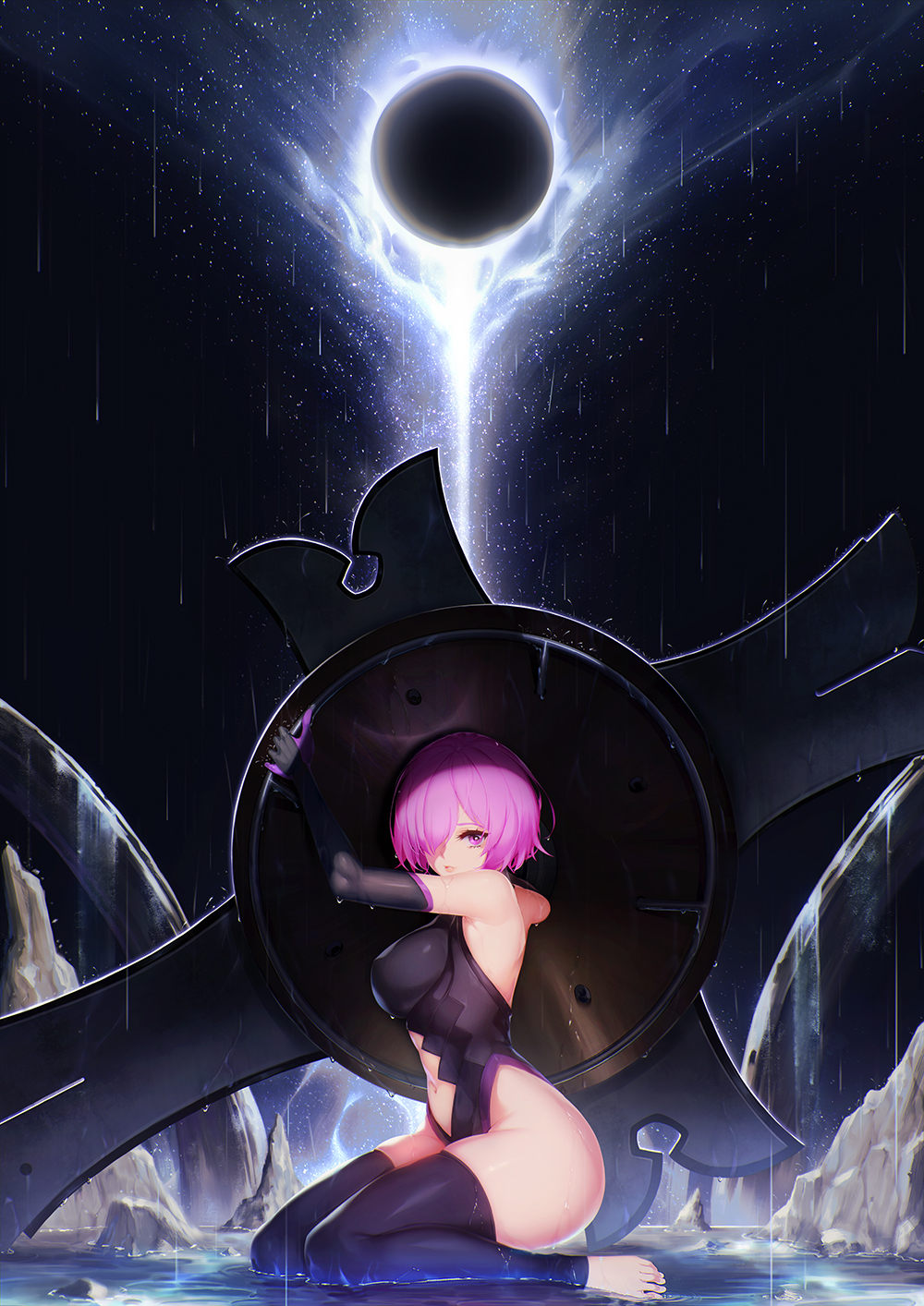 1girl bare_shoulders black_legwear blueorca breasts commentary fate/grand_order fate_(series) hair_over_one_eye highres holding_shield kneeling looking_at_viewer mash_kyrielight moon navel night outdoors rain shield short_hair solo thigh-highs toeless_legwear toes violet_eyes