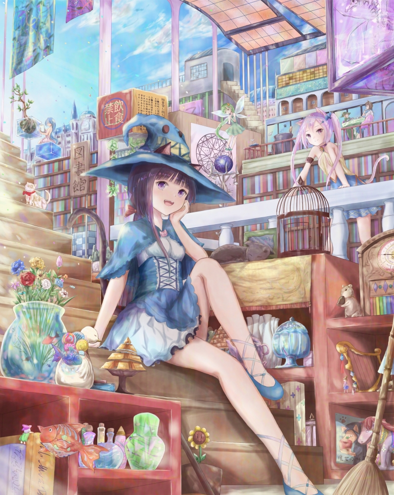 6+girls :d animal animal_ears bangs bare_arms bare_shoulders birdcage black_hair blue_bow blue_capelet blue_flower blue_footwear blue_hair blue_headwear blue_rose blue_skirt book bookshelf bow breasts cage capelet cat cat_ears cat_girl cat_tail cauldron checkered closed_mouth cube day dress ears_through_headwear fairy fairy_wings fish flower frilled_skirt frills green_dress green_hair hair_bow hair_ornament hairclip harp hat instrument kinom_(sculpturesky) knee_up long_hair magic_circle minigirl multiple_girls open_mouth original pillar pink_hair red_bow red_flower red_rose rose shirt shoes sign sitting sitting_on_stairs skirt sleeveless sleeveless_dress small_breasts smile stairs standing tail translation_request transparent_wings twintails vase very_long_hair violet_eyes white_flower white_rose white_shirt white_skirt white_wings wings witch_hat yellow_flower yellow_rose