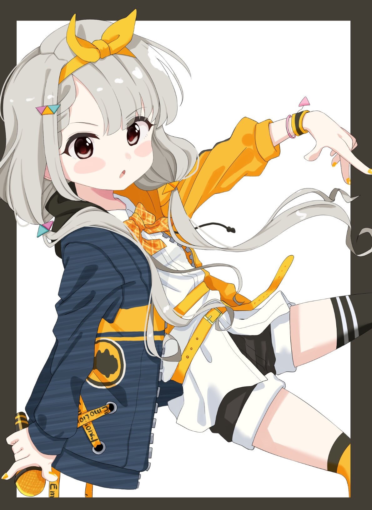 1girl bangs belt belt_buckle black_background black_legwear black_shorts blue_jacket blush_stickers bow brown_eyes buckle collared_shirt commentary_request dress_shirt eyebrows_visible_through_hair hair_ornament hair_ribbon highres hisakawa_nagi holding holding_microphone idolmaster idolmaster_cinderella_girls idolmaster_cinderella_girls_starlight_stage jacket long_hair long_sleeves low_twintails microphone mismatched_legwear nail_polish open_clothes open_jacket orange_belt orange_bow orange_jacket orange_legwear orange_nails orange_ribbon outstretched_arm over-kneehighs parted_lips plaid plaid_bow ribbon shirt shiwa_(siwaa0419) short_shorts shorts single_over-kneehigh single_thighhigh sleeves_past_wrists solo thigh-highs twintails two-tone_background v-shaped_eyebrows very_long_hair white_background white_shirt wristband
