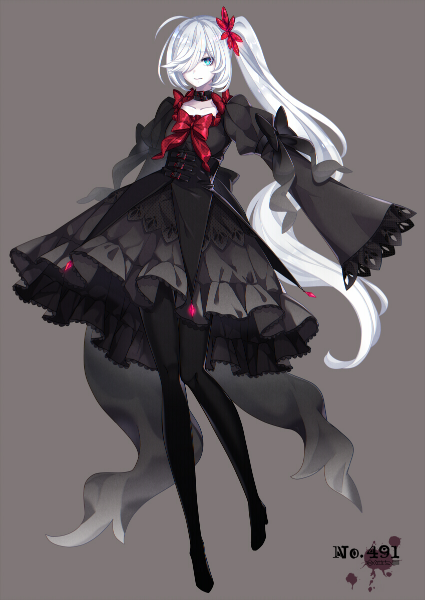 black_dress black_legwear bow closed_mouth collarbone darkrai dress eyebrows_visible_through_hair flat_chest hair_over_one_eye highres long_hair looking_at_viewer merlusa nervous pantyhose personification pokemon pokemon_number red_bow side_ponytail silver_hair very_long_hair