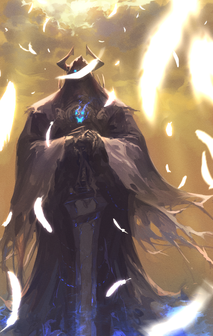 blue_fire cloak fate/grand_order fate_(series) feathers fire glowing glowing_eyes hands_on_hilt hidden_face king_hassan_(fate/grand_order) planted_weapon sword weapon yellow_sky zonotaida