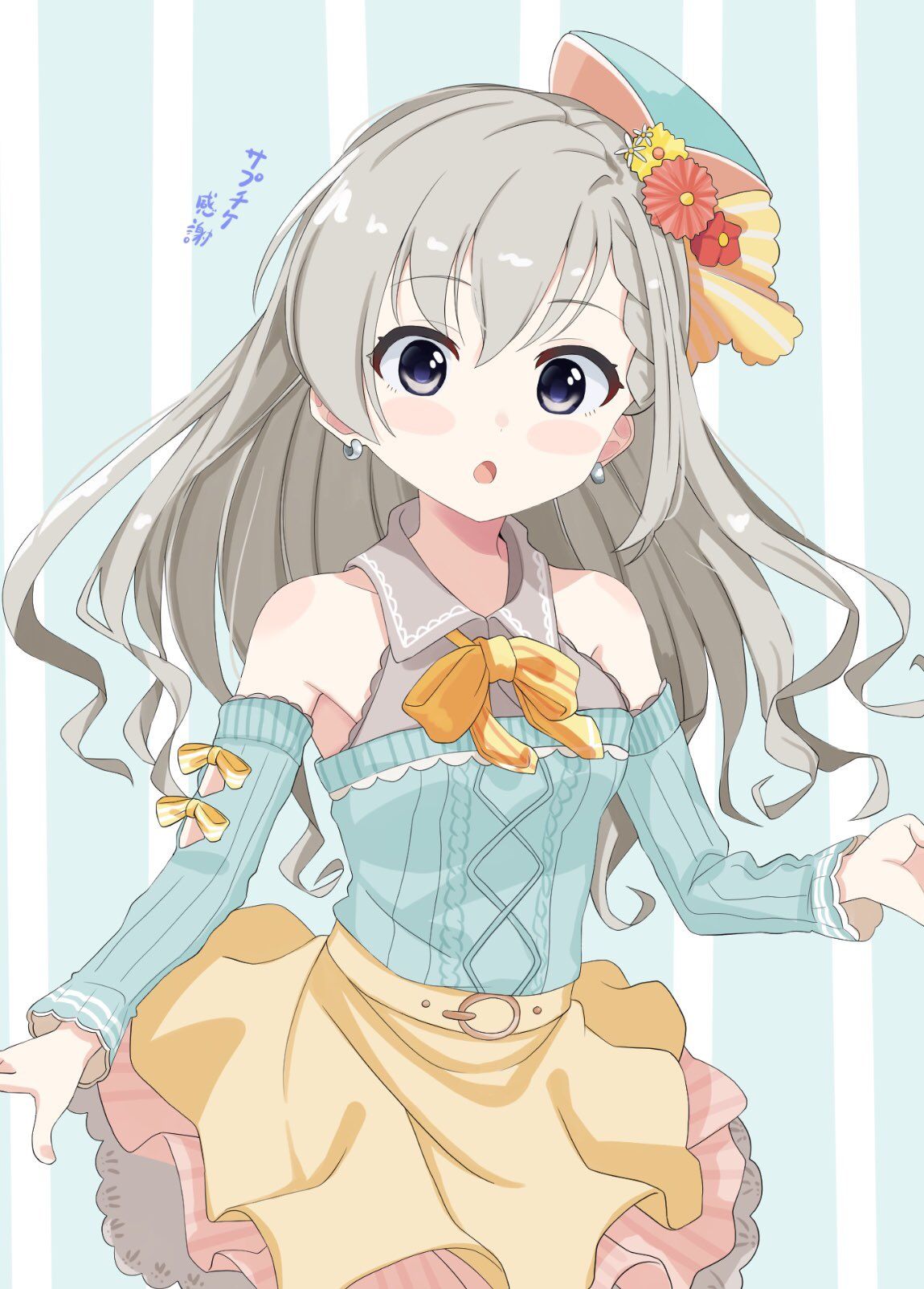 1girl :o aran_sweater bangs blue_background blue_headwear blue_sleeves blue_sweater blush_stickers bow brown_skirt collared_shirt detached_sleeves earrings eyebrows_visible_through_hair flower grey_hair grey_shirt hair_between_eyes hair_flower hair_ornament hat highres hisakawa_hayate idolmaster idolmaster_cinderella_girls idolmaster_cinderella_girls_starlight_stage jewelry layered_skirt long_hair long_sleeves looking_at_viewer mini_hat open_mouth orange_bow pink_flower pink_skirt red_flower shirt shiwa_(siwaa0419) skirt sleeveless sleeveless_shirt solo striped striped_background striped_bow sweater tilted_headwear translation_request vertical-striped_skirt vertical_stripes very_long_hair violet_eyes white_flower yellow_bow yellow_flower