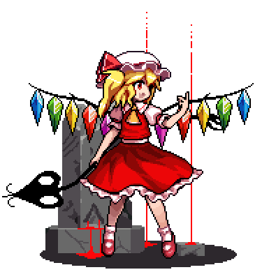 1girl :d antinomy_of_common_flowers ascot blonde_hair blood bobby_socks bow commentary crystal fang flandre_scarlet frilled_skirt frills full_body hand_up hat hat_ribbon holding holding_weapon laevatein looking_to_the_side lowres mary_janes medium_hair mob_cap official_style one_side_up open_mouth pixel_art puffy_short_sleeves puffy_sleeves red_bow red_eyes red_footwear red_ribbon red_skirt red_vest ribbon shirt shoes short_sleeves side_ponytail skirt smile socks solo the_hammer_(pixiv30862105) touhou transparent_background vest weapon white_shirt wings yellow_neckwear