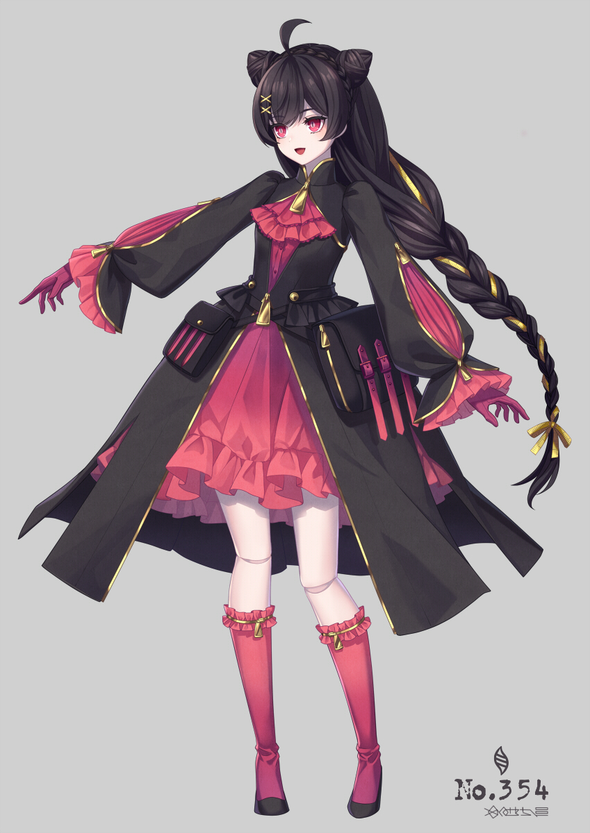 1girl ahoge banette blush braid double_bun eyebrows_visible_through_hair full_body gloves hair_ornament highres kneehighs long_hair long_sleeves looking_away merlusa open_mouth personification pink_hair pokemon pokemon_number red_gloves red_legwear smile solo very_long_hair x_hair_ornament