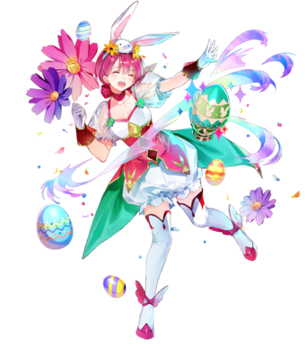 1girl alternate_costume egg est fire_emblem fire_emblem:_monshou_no_nazo fire_emblem_heroes frills full_body hair_ornament hat leggings nintendo pantaloons pink_dress pink_hair rabbit rabbit_ears scarf see-through see-through_sleeves short_hair smile white_gloves