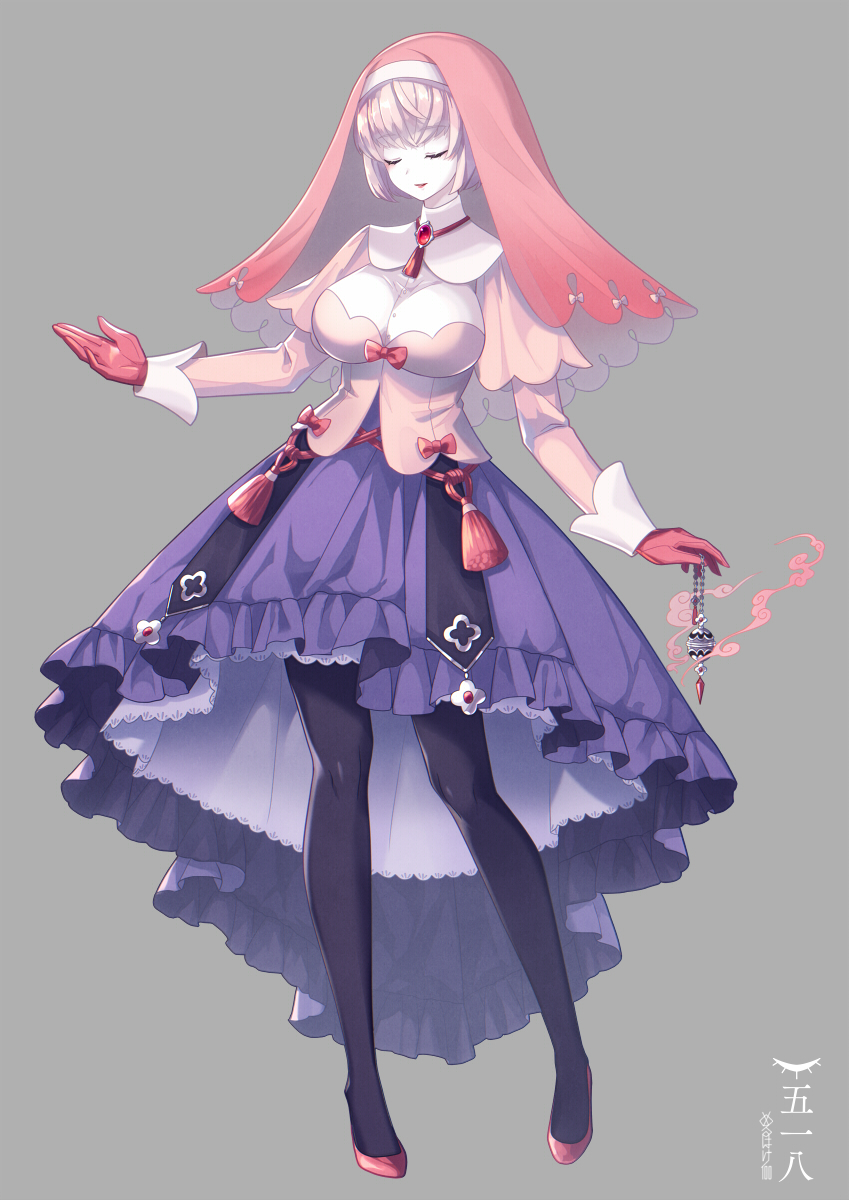 1girl black_legwear blue_skirt blush breasts closed_eyes closed_mouth eyebrows_visible_through_hair facing_viewer full_body gen_5_pokemon gloves high_heels highres large_breasts long_sleeves merlusa musharna pantyhose personification pokemon red_footwear red_gloves skirt solo white_skin
