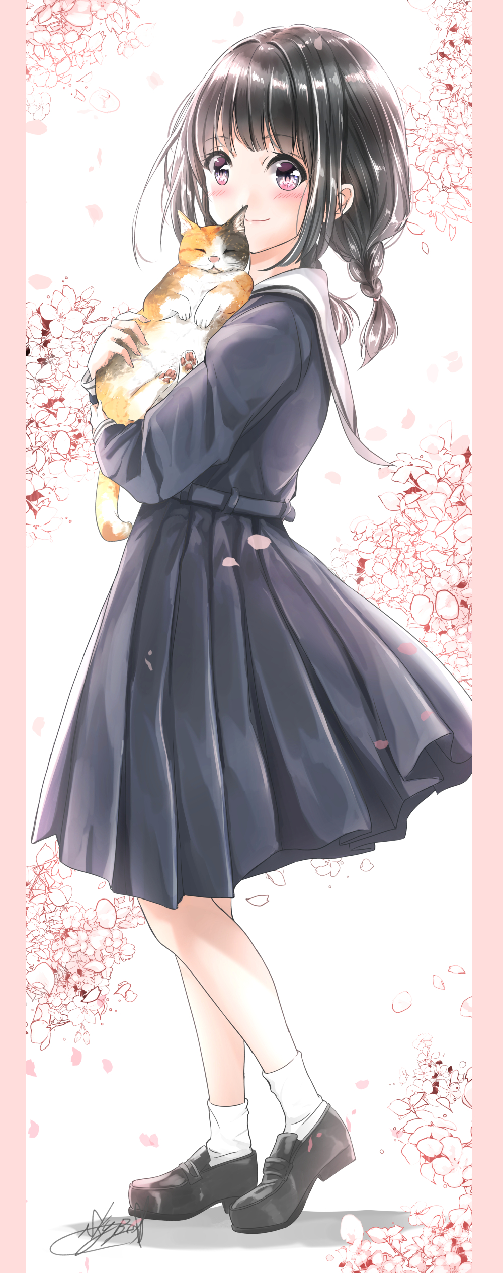 1girl absurdres bangs belt black_footwear black_hair black_serafuku blush border cat cherry_blossoms commentary_request eyebrows_visible_through_hair floral_background from_side full_body highres holding holding_cat leg_lift loafers looking_at_viewer low_twintails original pink_border pink_eyes pleated_skirt sailor_collar school_uniform serafuku shoes short_hair signature skirt smile socks solo soragane_(banisinngurei) spring_(season) twintails uniform white_background white_legwear white_sailor_collar