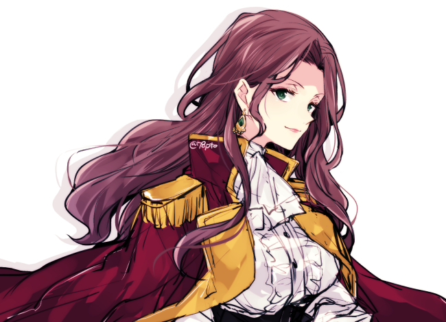 1girl alternate_costume brown_hair closed_mouth cute dorothea_arnault earrings fire_emblem fire_emblem:_fuukasetsugetsu fire_emblem:_three_houses fire_emblem_16 green_eyes intelligent_systems jewelry lips long_hair naho_(pi988y) nintendo parted?lips simple_background solo twitter_username upper_body white_background