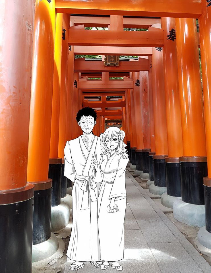 1boy 1girl architecture arm_behind_back bag closed_eyes east_asian_architecture geta hand_on_another's_shoulder handbag holding holding_handbag inari japanese_clothes kantai_collection kashima_(kantai_collection) kimono one_eye_closed outdoors photo_background robba-san_(wangphing) sandals scar short_hair smile standing twintails v very_short_hair wangphing