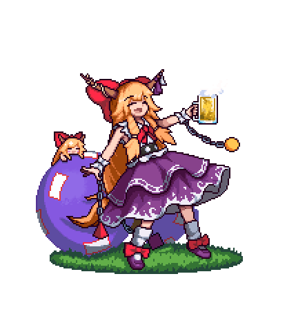 alcohol antinomy_of_common_flowers beer beer_mug belt blonde_hair bow chain closed_eyes cube cup dual_persona eyebrows_visible_through_hair gourd grass hair_bow holding holding_cup horn_bow horn_ribbon horns ibuki_suika long_hair lowres minigirl multiple_girls neckerchief oni open_mouth outstretched_arm pixel_art purple_footwear purple_skirt pyramid_(geometry) red_bow red_neckwear ribbon shirt shoe_bow shoes sidelocks skirt sleeveless sleeveless_shirt smile socks sphere standing the_hammer_(pixiv30862105) torn_clothes torn_sleeves touhou transparent_background very_long_hair white_legwear white_shirt wrist_cuffs
