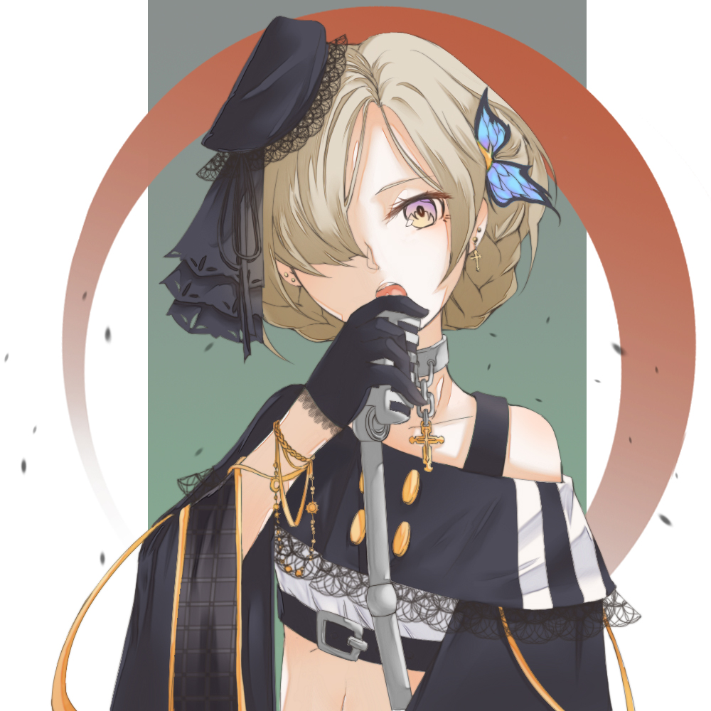 1152635131_(artist) 1girl alternate_costume alternate_eye_color ashes azur_lane black_gloves blonde_hair bracelet braid butterfly_hair_ornament charm_(object) crop_top cross dangle_earrings earrings eyelashes flapper_girl french_braid gloves green_background hair_ornament hair_over_one_eye hand_up head_tilt holding holding_microphone jewelry lace lace-trimmed_gloves lace-trimmed_shirt looking_at_viewer microphone microphone_stand midriff music off-shoulder_shirt off_shoulder open_mouth sheffield_(azur_lane) shirt simple_background singing solo stud_earrings vintage_microphone violet_eyes wide_sleeves yellow_eyes
