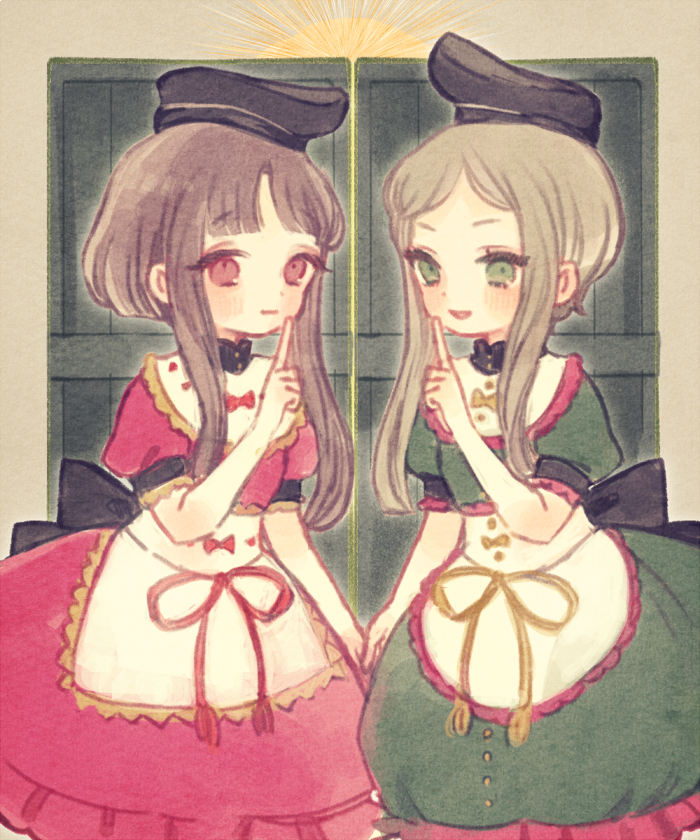 2girls back_bow black_bow black_headwear blush bow brown_hair cowboy_shot door dress finger_to_mouth frills green_dress green_eyes hat multiple_girls nishida_satono pink_dress raised_hands red_eyes short_hair_with_long_locks short_sleeves tate_eboshi teireida_mai touhou yujup