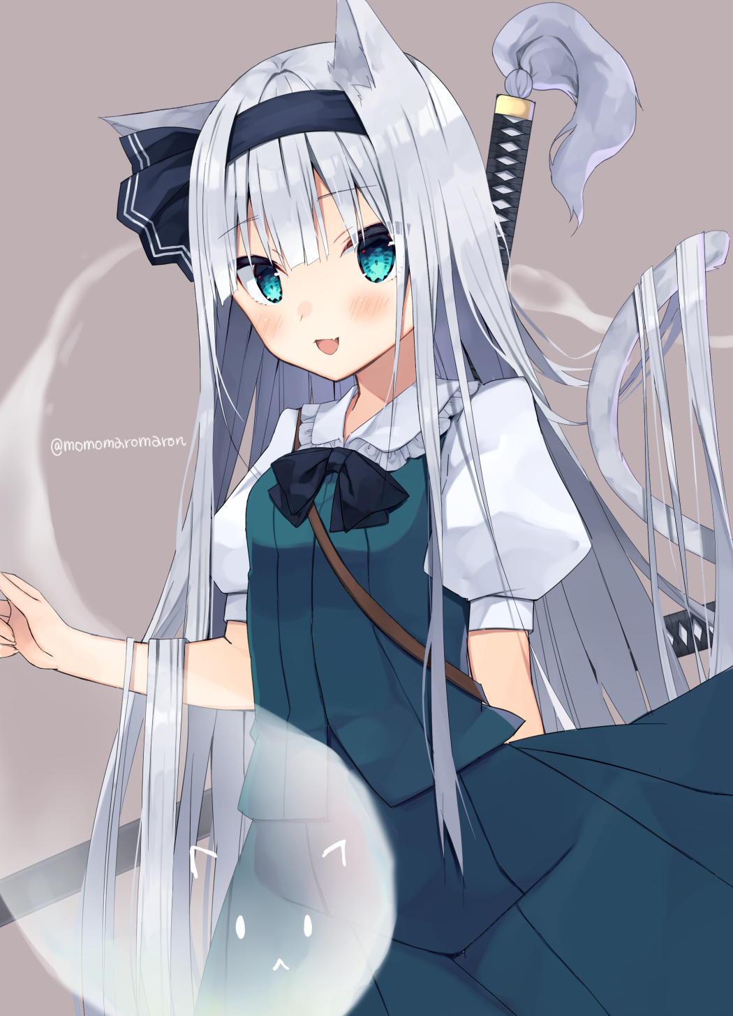 1girl :< :d alternate_hair_length alternate_hairstyle animal_ears aqua_eyes bangs black_bow black_hairband black_neckwear black_ribbon blue_skirt blue_vest blunt_bangs blush bow bowtie cat_ears cat_girl commentary_request eyebrows_visible_through_hair fang ghost hair_ribbon hairband highres hitodama kemonomimi_mode konpaku_youmu konpaku_youmu_(ghost) long_hair looking_at_viewer momomaron open_mouth puffy_short_sleeves puffy_sleeves ribbon sheath sheathed shirt short_sleeves silver_hair skin_fang skirt smile solo straight_hair sword touhou twitter_username very_long_hair vest weapon white_shirt