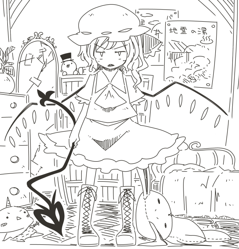 1girl bed boots broken_mirror chest_of_drawers crystal flandre_scarlet frown full_body greyscale hat holding holding_spear holding_weapon indoors jagabutter laevatein long_hair looking_at_viewer mob_cap monochrome plant polearm poster_(object) potted_plant room sharp_teeth shelf shirt short_sleeves side_ponytail skirt solo spear stuffed_animal stuffed_bunny stuffed_toy teeth touhou vest weapon wings