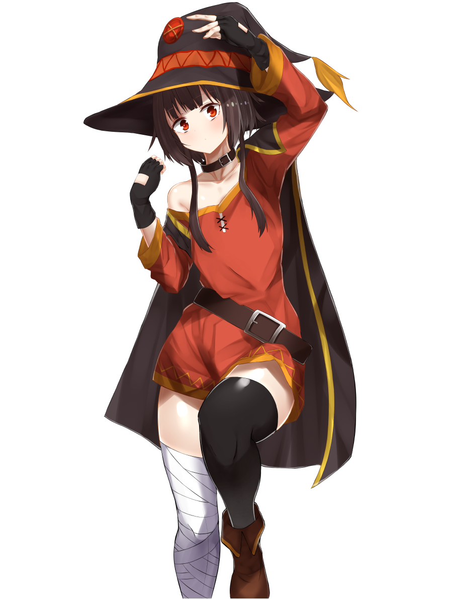 1girl bandaged_leg bandages bare_shoulders belt black_collar black_hair black_legwear blush breasts cape collar collarbone commentary_request dress fingerless_gloves gloves hat knee_up kono_subarashii_sekai_ni_shukufuku_wo! looking_at_viewer megumin mugisei333 off-shoulder_dress off_shoulder red_dress red_eyes short_hair_with_long_locks simple_background single_thighhigh solo thigh-highs white_background witch_hat