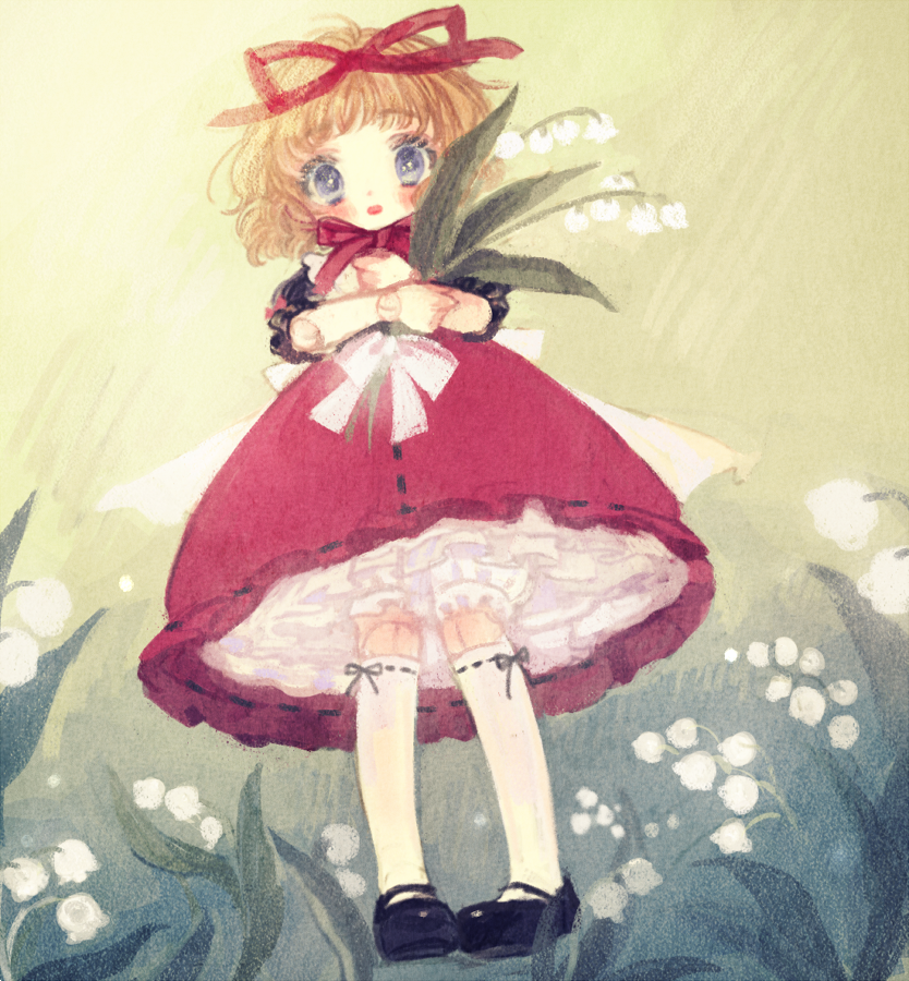 1girl black_footwear blonde_hair blue_eyes blush doll_joints dress flower frills full_body hair_ribbon holding holding_flower lily_of_the_valley looking_at_viewer medicine_melancholy red_dress red_ribbon ribbon short_hair short_sleeves solo touhou white_legwear yujup