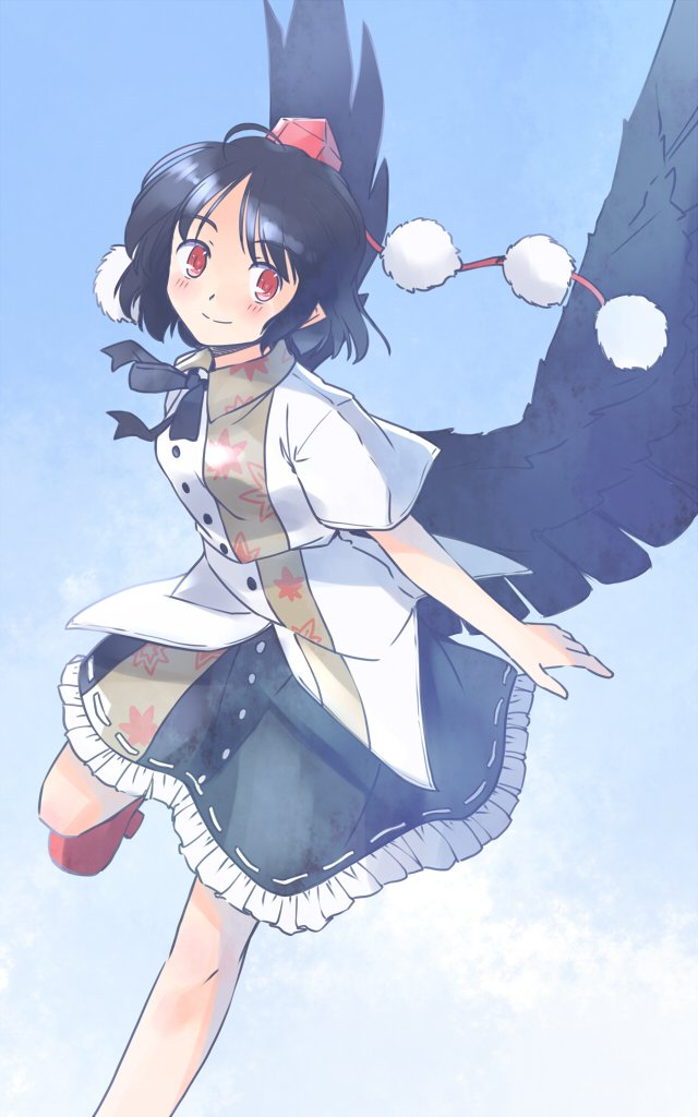 1girl black_hair black_neckwear black_skirt black_wings blue_background blue_sky blush feathered_wings frilled_skirt frills geta hat leaf_print looking_at_viewer neck_ribbon pointy_ears pom_pom_(clothes) rangycrow red_footwear red_headwear ribbon shameimaru_aya shirt short_hair short_sleeves skirt sky smile solo tengu-geta tokin_hat touhou white_shirt wings