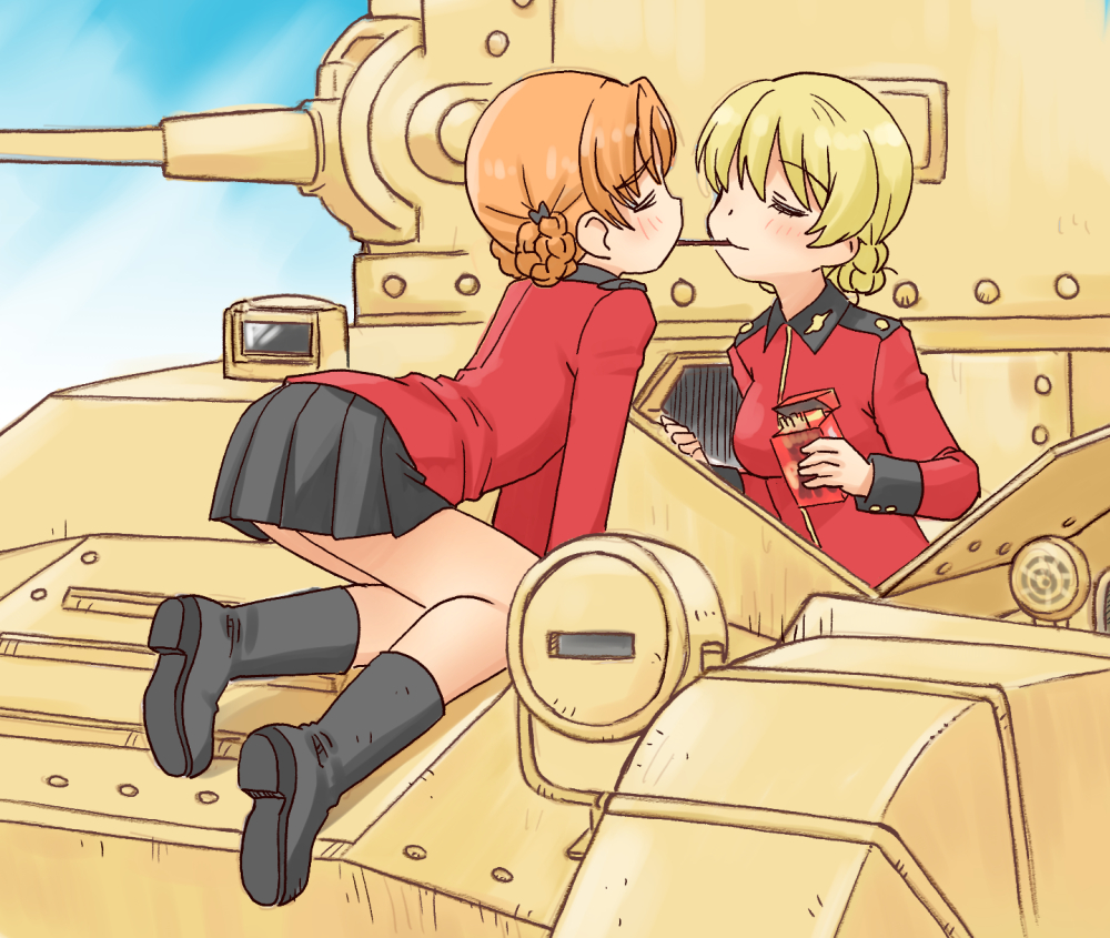 2girls all_fours arm_support bangs black_bow black_footwear black_skirt blonde_hair blue_sky boots bow braid churchill_(tank) closed_eyes closed_mouth clouds cloudy_sky commentary darjeeling_(girls_und_panzer) day epaulettes eyebrows_visible_through_hair food girls_und_panzer ground_vehicle hair_bow holding holding_food insignia jacket kneeling leaning_forward long_sleeves military military_uniform military_vehicle miniskirt motor_vehicle multiple_girls on_vehicle orange_hair orange_pekoe_(girls_und_panzer) outdoors parted_bangs pleated_skirt pocky pocky_kiss red_jacket short_hair skirt sky smile st._gloriana's_military_uniform tank tied_hair twin_braids uniform uona_telepin yuri