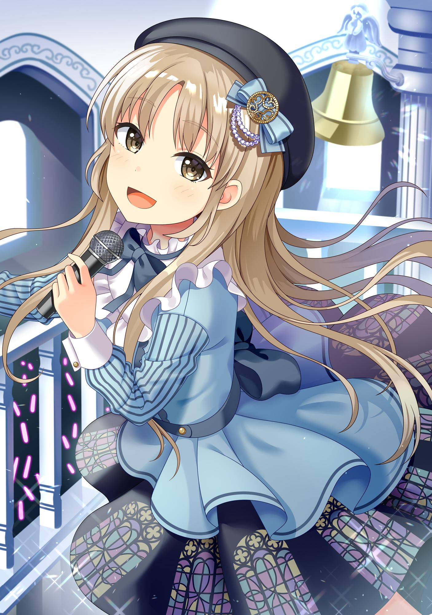 1girl bell black_headwear blush brown_eyes church_bell concert glowstick highres holding holding_microphone idol idol_clothes light_brown_hair long_hair long_sleeves looking_at_viewer microphone music nijisanji open_mouth singing sister_cleaire smile solo stage virtual_youtuber yuusa
