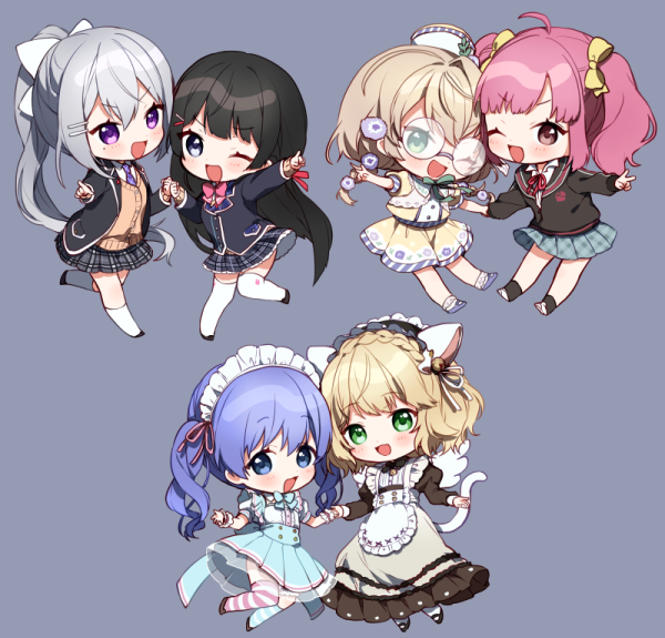 1boy 5girls :d ;d achikita_chinami ahoge animal_ears apron bangs bell black_dress black_footwear black_hair black_hairband black_jacket blazer blonde_hair blue_eyes blue_hair blue_skirt blush bow brown_cardigan brown_shirt brown_skirt cardigan cat_ears cat_tail chibi collared_shirt dress eyebrows_visible_through_hair flower frilled_apron frilled_hairband frills glasses green_eyes grey_background hair_bell hair_between_eyes hair_bow hair_ornament hairband hairclip hat high-waist_skirt higuchi_kaede holding_hands jacket jingle_bell juliet_sleeves kneehighs light_brown_hair long_hair long_sleeves looking_at_viewer mini_hat mismatched_legwear multiple_girls neck_ribbon necktie nijisanji one_eye_closed open_blazer open_clothes open_jacket open_mouth outstretched_arm pink_hair plaid plaid_skirt pleated_skirt ponytail puffy_short_sleeves puffy_sleeves purple_flower purple_neckwear red_ribbon ribbon shirt short_sleeves silver_hair simple_background single_kneehigh single_thighhigh skirt smile socks striped striped_legwear suzuya_aki tail thigh-highs tsukino_mito twintails v v-shaped_eyebrows very_long_hair violet_eyes virtual_youtuber white_apron white_bow white_headwear white_legwear white_shirt yaguruma_rine yamabukiiro yellow_bow yuuki_chihiro