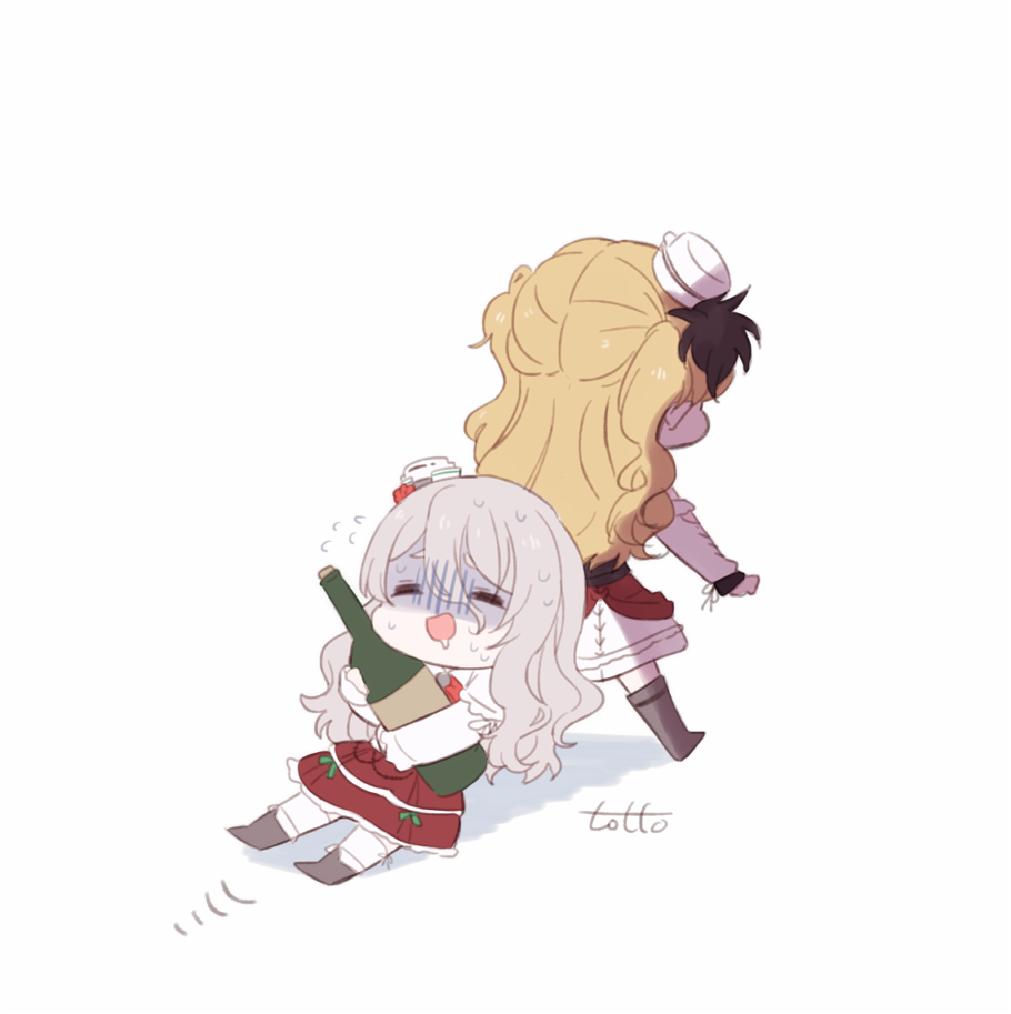 2girls artist_name bangs blonde_hair boots bottle chibi commentary_request dragging drooling eyebrows_visible_through_hair flying_sweatdrops grey_hair hat holding holding_bottle kantai_collection long_hair long_sleeves mini_hat multiple_girls open_mouth pola_(kantai_collection) pulling shaded_face shirt simple_background skirt sweat totto_(naka) wavy_hair white_background white_shirt wine_bottle zara_(kantai_collection)