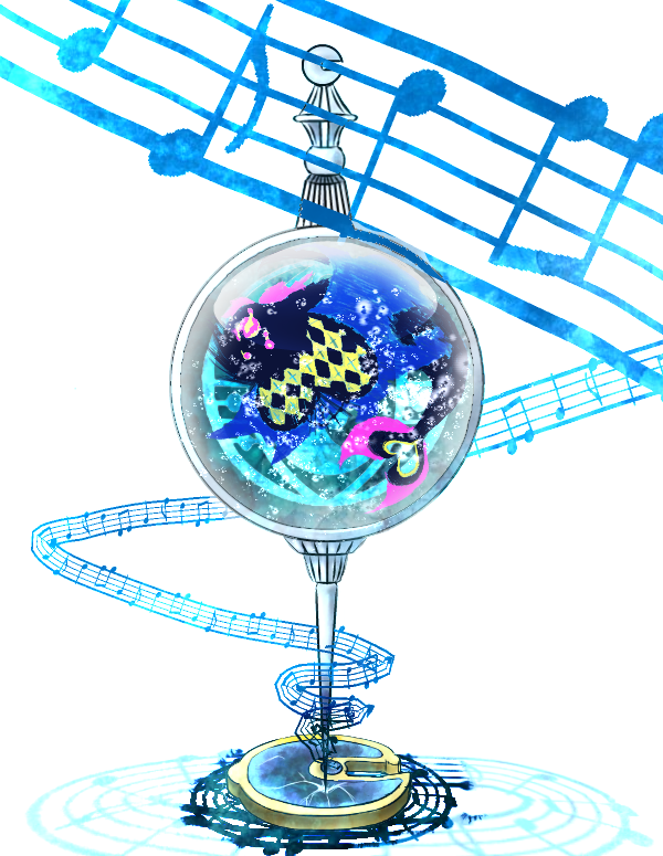 air_bubble beamed_eighth_notes blue_theme broken bubble commentary_request crack eighth_note grief_seed in_container mahou_shoujo_madoka_magica musical_note no_humans oktavia_von_seckendorff sangenshoku_nikudanshi simple_background soul_gem staff_(music) still_life underwater water white_background witch_(madoka_magica)
