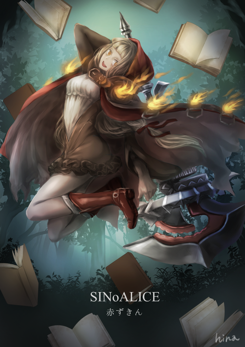 1girl artist_name axe bangs belt belt_buckle blonde_hair blunt_bangs book boots brown_dress buckle cape copyright_name dress fire forest full_body hair_ribbon hi-na1 holding holding_axe holding_weapon hood hood_up hooded_cape little_red_riding_hood_(sinoalice) long_hair long_sleeves looking_at_viewer midair nature open_book open_mouth orange_eyes outdoors red_cape red_footwear red_ribbon ribbon sinoalice solo teeth upper_teeth weapon