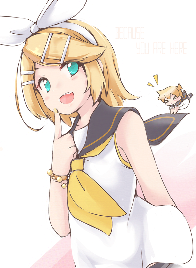 >_< 1girl aki_no_koto aqua_eyes bare_shoulders blonde_hair bow bracelet chibi finger_to_cheek flat_chest hair_bow hair_ornament hairclip hanging headphones headset jewelry kagamine_len kagamine_rin open_mouth sailor_collar shirt short_hair sleeveless sleeveless_shirt smile solo vocaloid yellow_nails