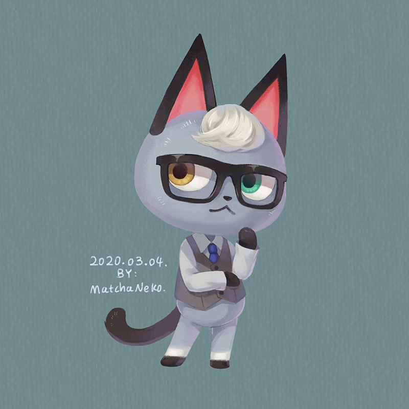 1boy animal_ears artist_name cat_ears cat_tail dated doubutsu_no_mori furry glasses green_eyes grey_background heterochromia jack_(doubutsu_no_mori) matchaneko necktie solo tail yellow_eyes