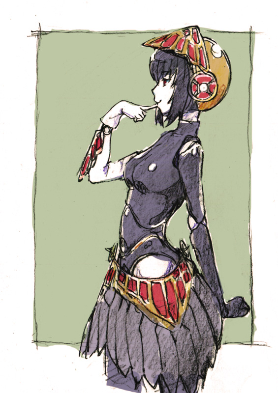 1girl android bangs breasts closed_mouth commentary_request cowboy_shot eyebrows_visible_through_hair finger_to_mouth from_side graphite_(medium) helmet index_finger_raised medium_breasts metis persona persona_3 profile robot_joints short_hair sketch skirt smile solo standing tonmoh traditional_media