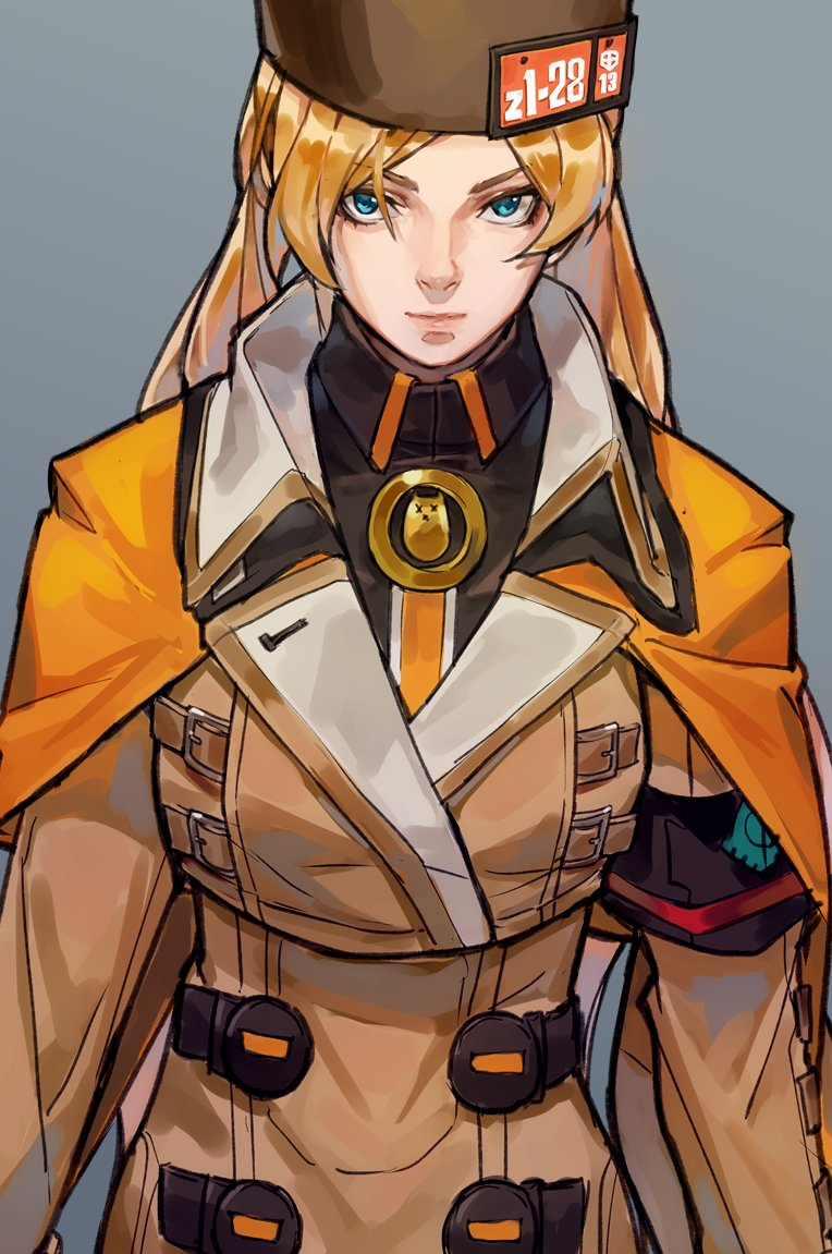 1girl armband blonde_hair blue_eyes buttons capelet coat double-breasted guilty_gear guilty_gear_strive hat high_collar long_sleeves looking_at_viewer millia_rage simple_background solo uncle_rabbit_ii