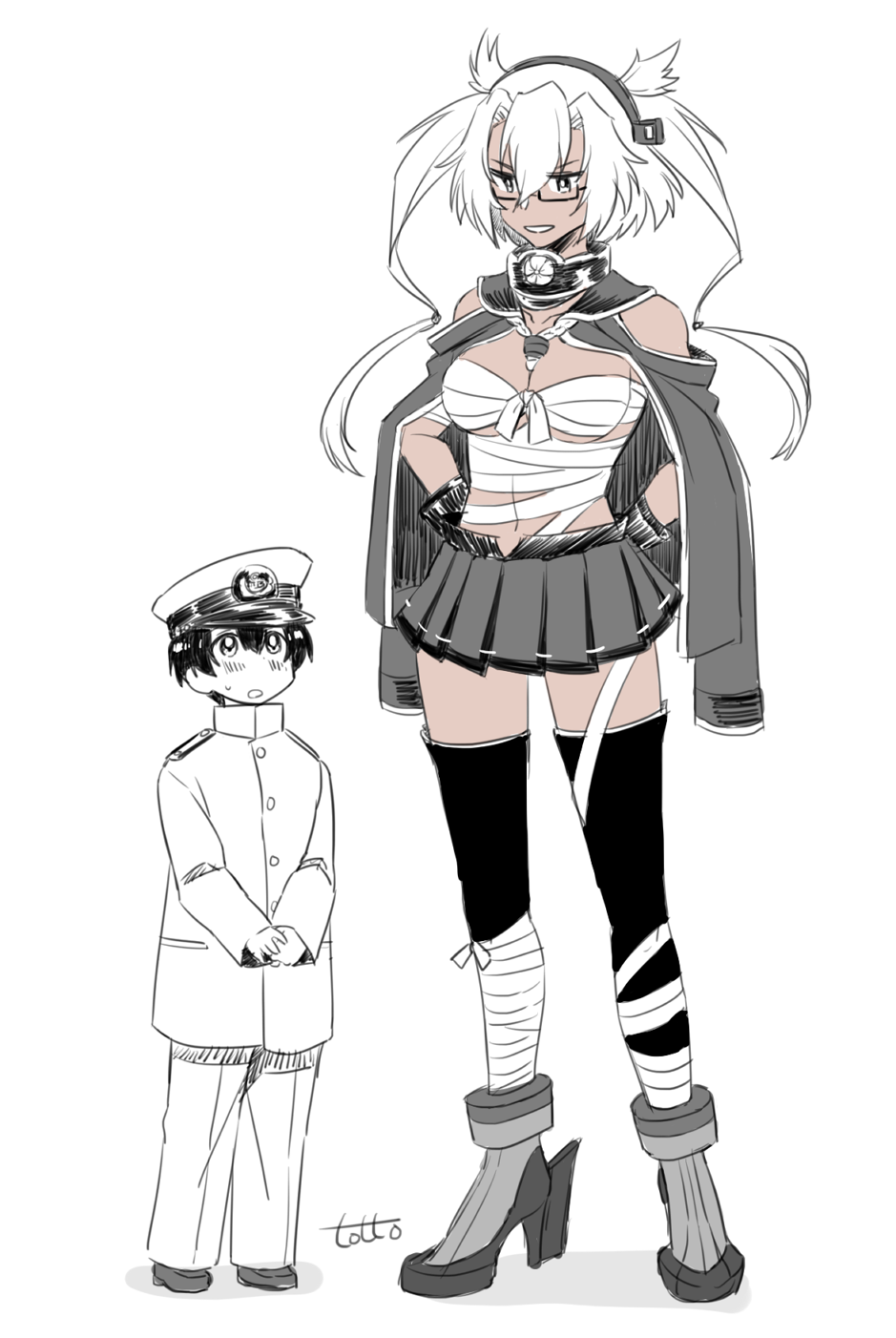 1boy 1girl age_difference artist_name bangs bare_shoulders black_gloves black_hair blush breasts budget_sarashi collar commentary_request dark_skin eyebrows_visible_through_hair full_body glasses gloves hair_between_eyes hands_on_hips hat headgear height_difference highres jacket kantai_collection large_breasts little_boy_admiral_(kantai_collection) long_hair long_sleeves looking_at_another military military_uniform miniskirt musashi_(kantai_collection) open_mouth partly_fingerless_gloves peaked_cap rudder_footwear sarashi semi-rimless_eyewear shoes short_hair short_hair_with_long_locks simple_background skirt smile thigh-highs totto_(naka) twintails two_side_up under-rim_eyewear uniform white_background white_hair