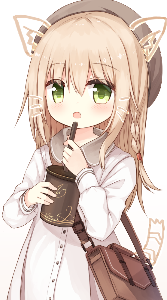 1girl :d animal_ear_fluff animal_ears bag bangs beret blush braid brown_headwear collared_dress cup disposable_cup drawn_ears drawn_tail dress drinking_straw eyebrows_visible_through_hair green_eyes hair_between_eyes hat holding holding_cup light_brown_hair long_hair long_sleeves looking_at_viewer open_mouth original shoulder_bag simple_background smile solo tail upper_body whisker_markings white_background white_dress yuuhagi_(amaretto-no-natsu)