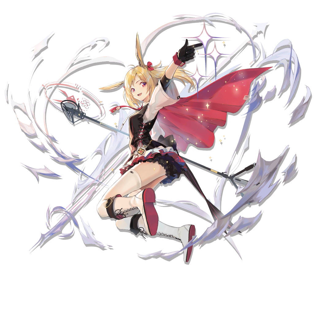 1girl :d animal_ears arknights arm_up black_gloves black_vest blonde_hair boots cape cross-laced_footwear elite_ii_(arknights) full_body gloves hair_ribbon huanxiang_heitu index_finger_raised knee_boots lace-up_boots long_hair long_sleeves looking_at_viewer microphone_stand miniskirt official_art open_mouth rabbit_ears red_cape red_eyes red_ribbon ribbon shirt skirt smile solo sora_(arknights) sparkle thigh-highs transparent_background twintails vest white_footwear white_legwear white_shirt wide_sleeves zettai_ryouiki
