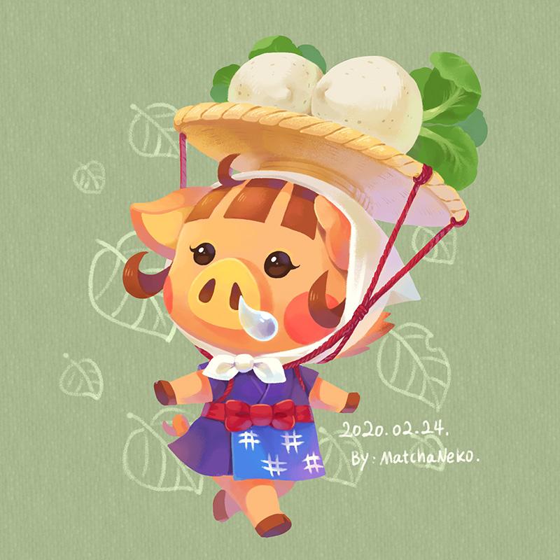 1girl animal_ears artist_name bandana blush boar boar_ears brown_hair dated doubutsu_no_mori food furry green_background japanese_clothes leaf matchaneko solo uri_(doubutsu_no_mori) vegetable