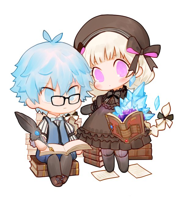 1boy 1girl black-framed_eyewear black_bow black_dress blue_eyes blue_hair blue_vest book book_stack bow braid character_request dress fate/grand_order fate_(series) glasses hair_bow hat hat_bow holding long_hair long_sleeves open_book pantyhose pince-nez quill rosette_(yankaixuan) simple_background sitting standing vest violet_eyes white_background