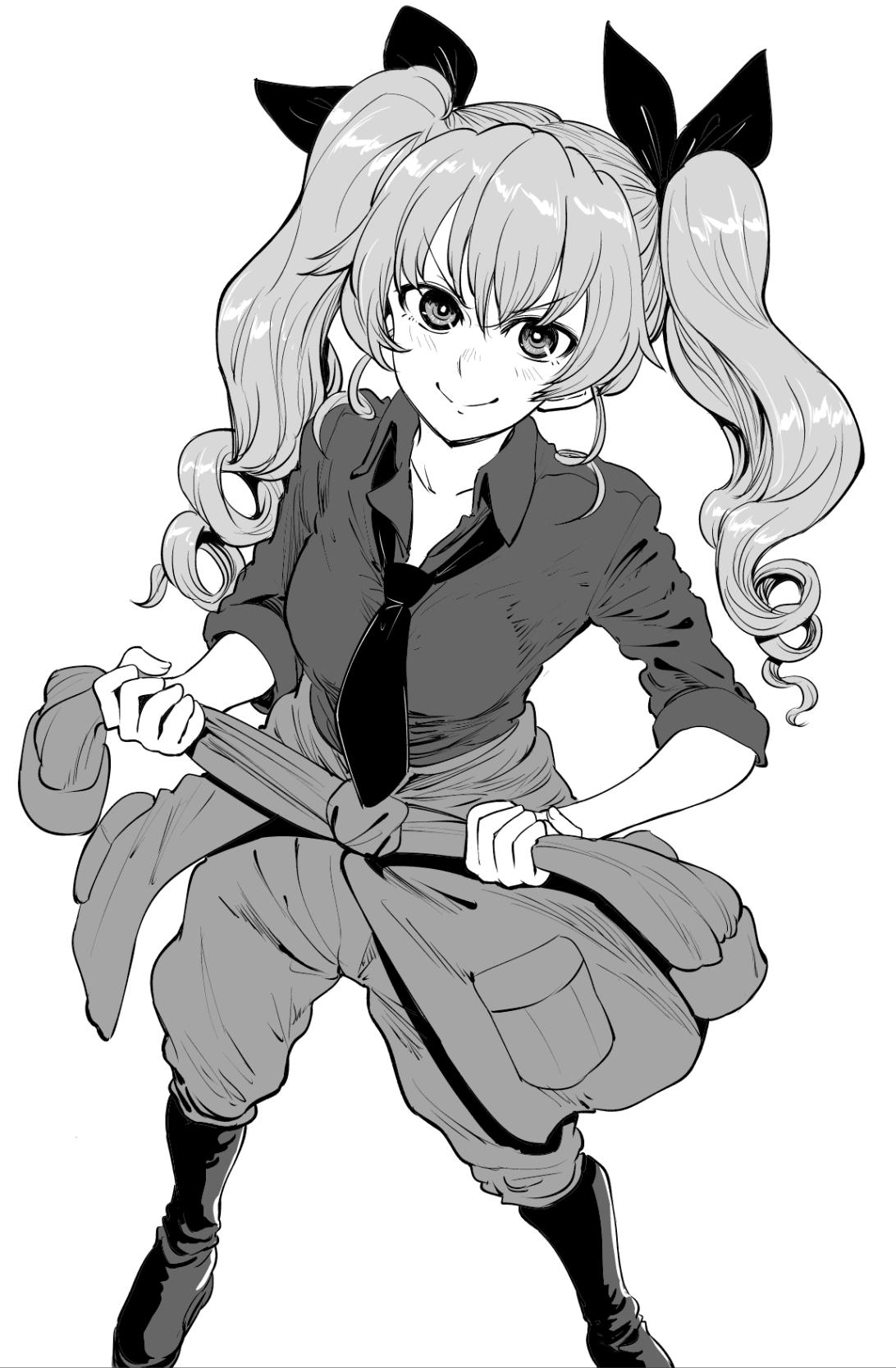 1girl anchovy_(girls_und_panzer) anzio_military_uniform bangs belt bonkara_(sokuseki_maou) boots closed_mouth clothes_around_waist commentary dress_shirt drill_hair eyebrows_visible_through_hair full_body girls_und_panzer greyscale hair_ribbon highres jacket jacket_around_waist knee_boots long_hair long_sleeves looking_at_viewer loose_necktie military military_uniform monochrome necktie ribbon shirt smile solo standing twin_drills twintails uniform v-shaped_eyebrows wing_collar